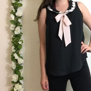Lauren Conrad Sleeveless Blouse w/ Neck Decal